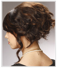 Back short of long curly updo
